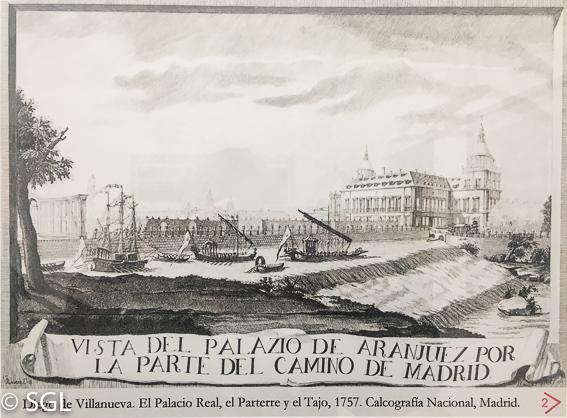 Vista del palacio de Aranjuez por la parte del camino de Madrid. Calcografia 1757