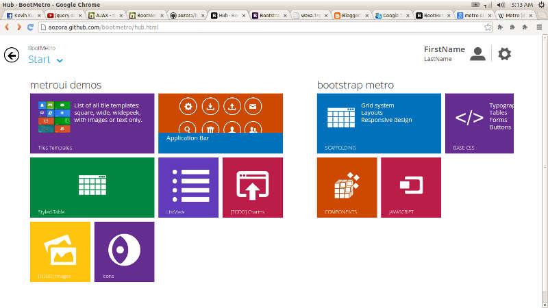 BOOTMETRO Framework Template HTML5 CSS3 Dengan Tampilan Metro UI