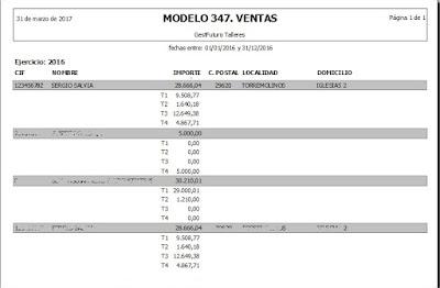 Imagen del resumen del 347en ventas en el software para taller