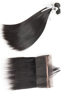 3 BUNDLES VIRGIN STRAIGHT HAIR WITH 360 LACE FRONTAL-NATURAL COLOR