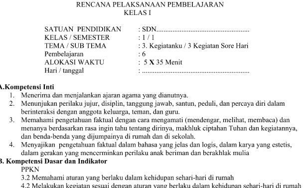 RPP Kurikulum 2013 Kelas 1 Revisi Tema 3 Subtema 3 Pembelajaran 6