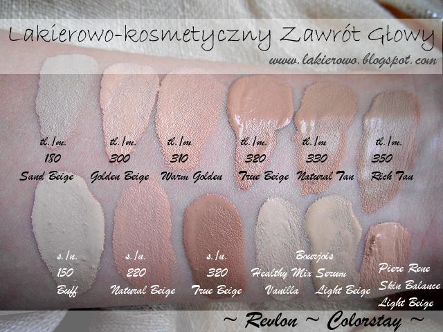 Podkład Revlon Colorstay kolory  swatch