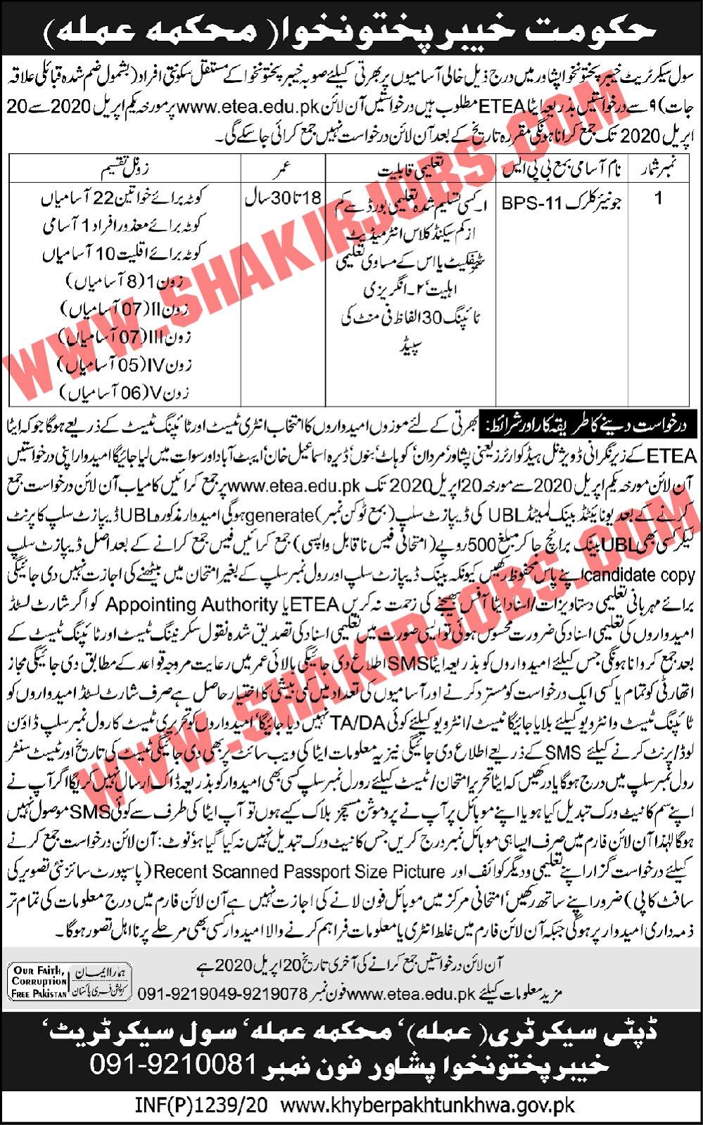 Civil Secretariat Khyber Pakhtunkhwa Jobs April 2020 Online Apply