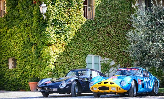 Two Ferrari 250 GTO in black and babyblue, ivy vines, GTO Cavalcade