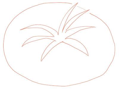 アイコン 「トマト」 (作: 塚原 美樹) ~ ヘタのまわりにトマトの本体を描く