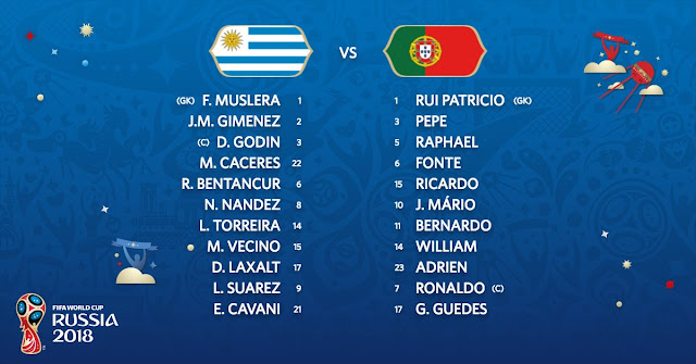 Starting Lineup: Uruguay vs Portugal (Live stream)