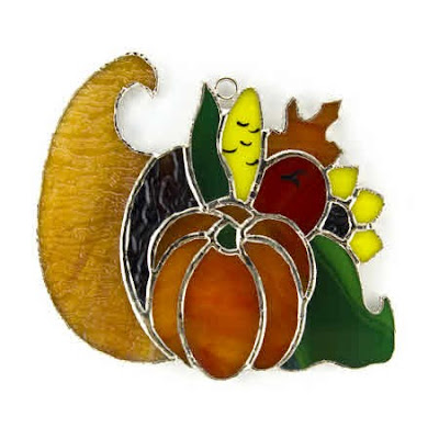 When it comes to home decor, November and Thanksgiving often get shortchanged. That's why I love this stained glass cornucopia ornament for fall.