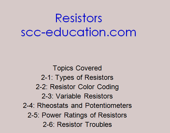 Resistors ,colaor coding,power rating,