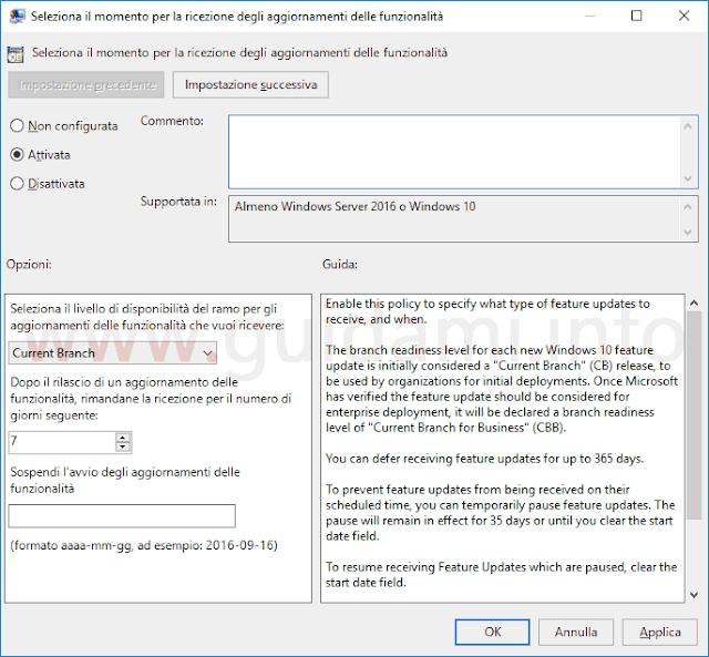 Windows 10 Editor Criteri di gruppo locali opzione per sospandere aggiornamenti funzionalità