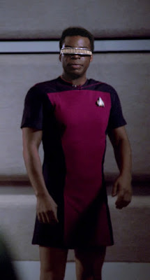 Geordi LaForge wearing TNG skant uniform
