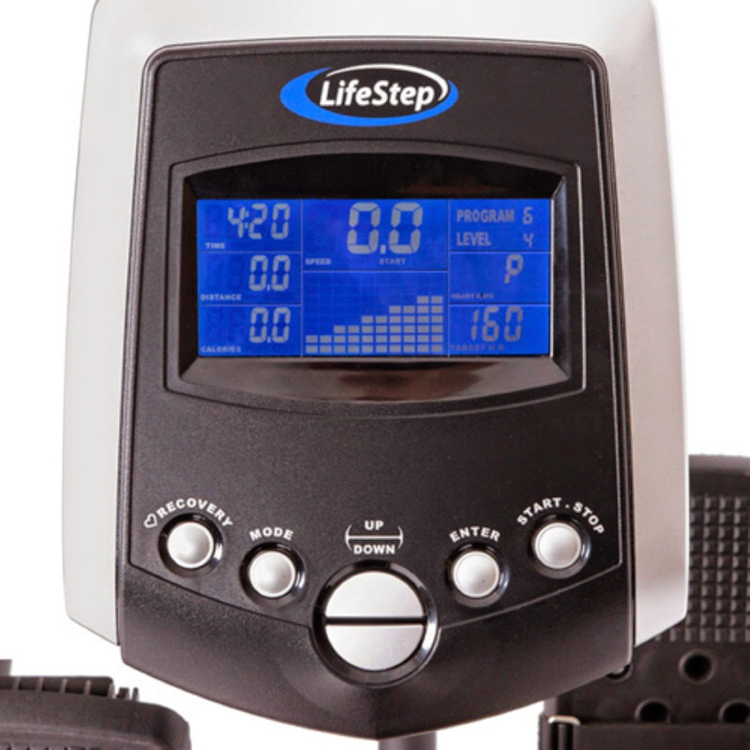 HCI Fitness LifeStep, workout console display, shows speed, time, distance, pulse, RPM, watts and calories burned