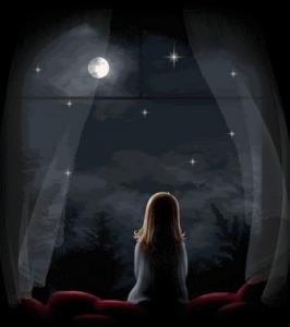aku melihat ke arah langit dan hanya menemukan bulan dan bintang yang kesuraman, gambar seorang gadis merindu