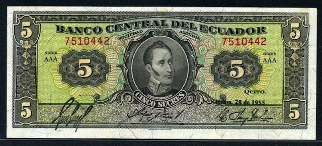 Ecuador Currency money 5 Sucre banknote bill