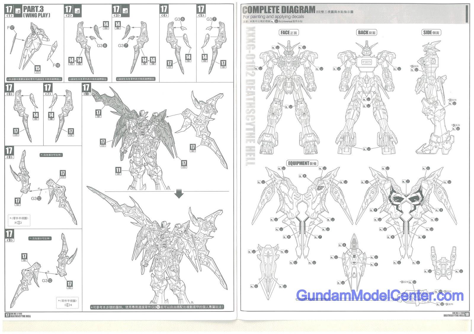 DM MG 1/100 Gundam Deathscythe Hell TV ver. Instruction