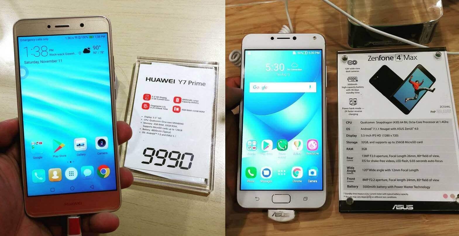 Huawei Y7 Prime versus ASUS Zenfone 4 Max