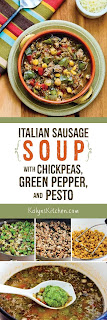 Italian Sausage Soup with Green Pepper, Chickpeas, and Pesto found on KalynsKitchen.com