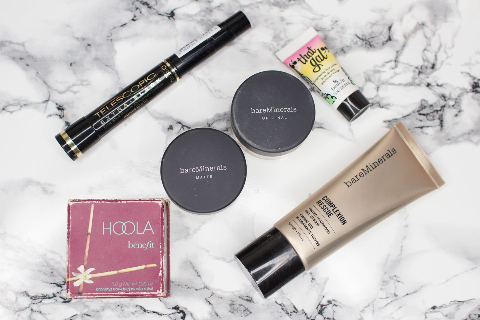 L'oreal Telescopic Mascara, Benefit Hoola Bronzer, BareMinerals Original Foundation, BareMinerals Matte Foundation, Benefit That Gal Primer, BareMinerals Complexion Rescue Review