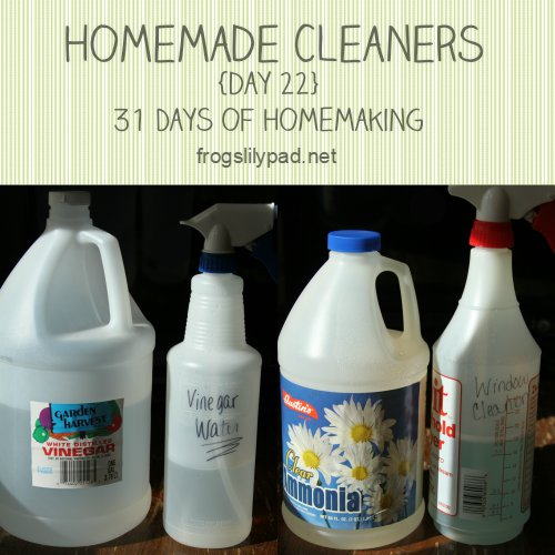 It's cost effective to make homemade cleaners. I don't use homemade cleaners on everything, but I do have two I use often. {day 22} 31 Days of Homemaking Series frogslilypad.net