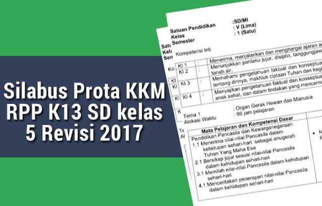 Silabus Prota KKM RPP K13 SD kelas 5 Revisi 2017