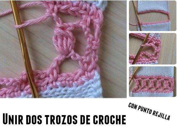 Unir dos trozos de crochet con punto de rejilla y estrellas