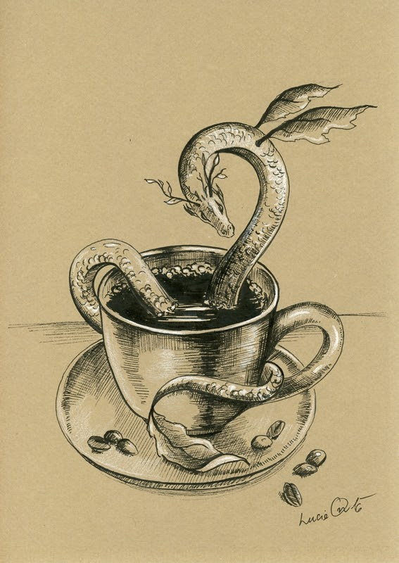 07-Coffee-Dragon-Lucie-Ondruskova-LucieOn-A-Glimpse-of-Fairyland-Animals-in-Drawings-www-designstack-co