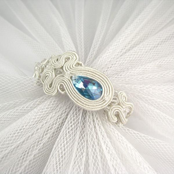 Bransoletka ślubna sutasz ivory i serenity blue