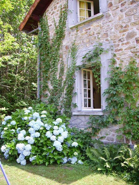 Home decor & Decorating Ideas: #Frenchfarmhouse stone facade and #hydrangea on Hello Lovely Studio