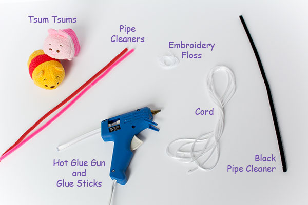 Winnie the pooh piglet disney tsum tsum characters with pipecleaners hot glue gun and cord