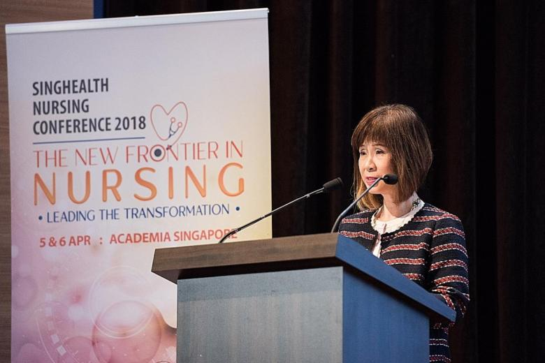 Dr Amy Khor, Senior Minister of State for Health, delivering her opening speech during the opening ceremony of the SingHealth Nursing Conference at SGH yesterday