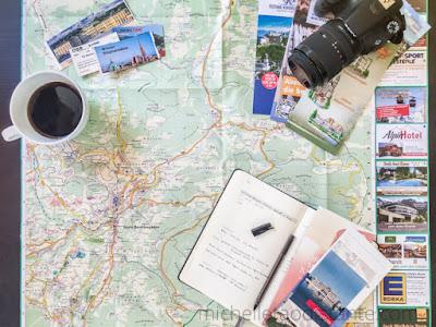 Mapa e anotações para roteiro Alemanha e Austria