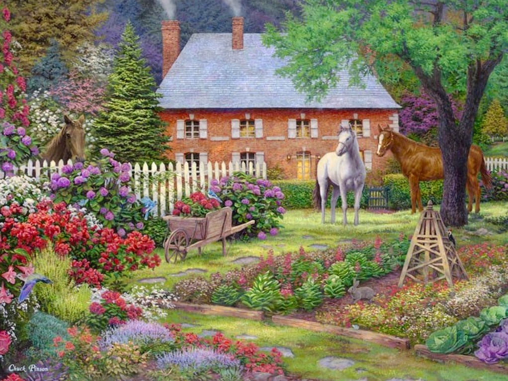 Arte pinturas leo paisajes de primavera pinturas al for Disegni casa cottage