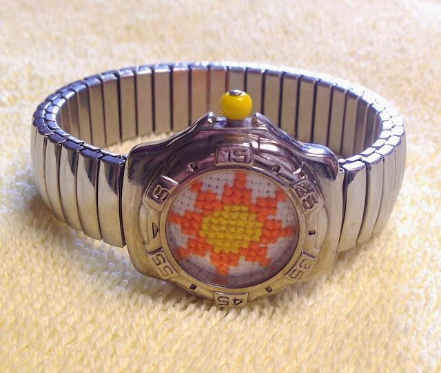 Floss & Fleece: cross-stitched sun watch