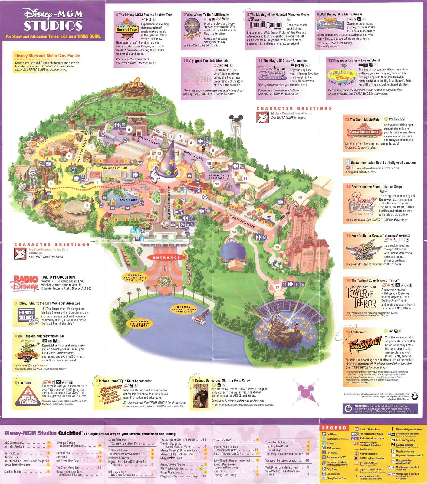 1998 Universal Studios Hollywood Map