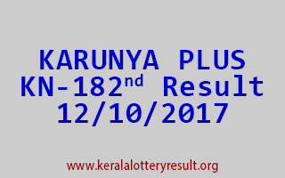 KARUNYA PLUS Lottery KN 182 Results 12-10-2017