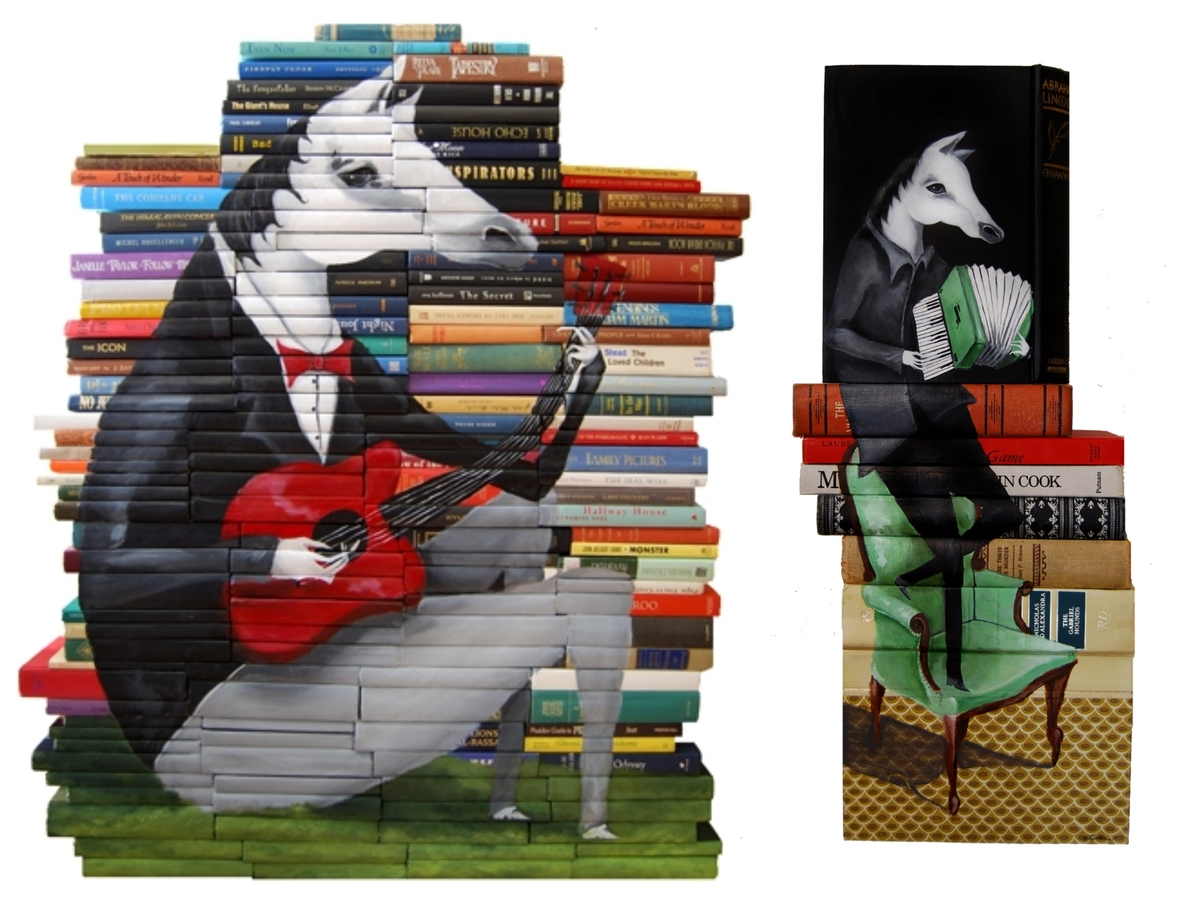 02-Mike-Stilkey-Books-used-as-Canvasses-for-Paintings-www-designstack-co