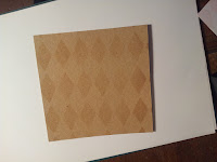 Harlequin background, brown on kraft card