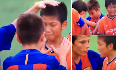 Aww, you wouldn't believe footballers under age 12 could act this way (video)