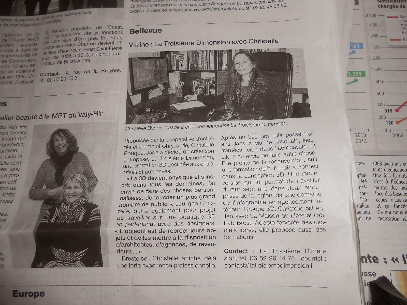 La Troisième Dimension dans la Presse: Ouest France 10 janvier 2014
