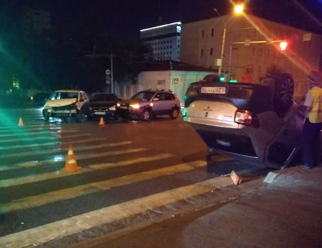 В Уфе ночью произошло ДТП с участием четырёх автомобилей