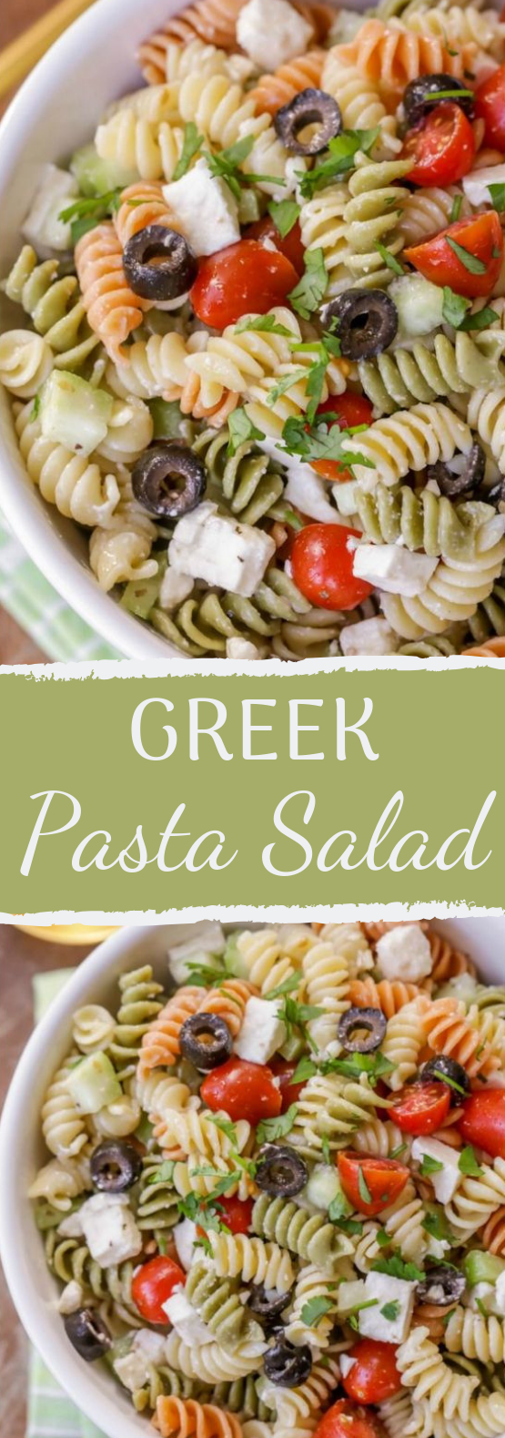 Greek Pasta Salad #healthysalad #vegetarian