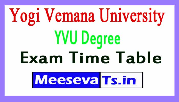 Yogi Vemana University YVU Degree Exam Time Table