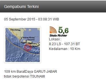 Gempa Bumi 5 September 2015