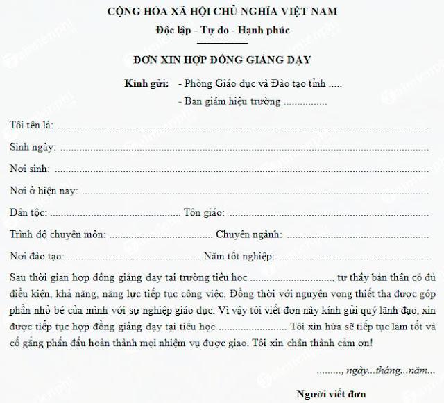 Mẫu đơn xin việc hợp đồng giáo viên