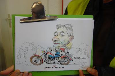 Une caricature avec un décors