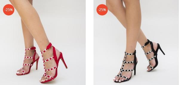 Sandale elegante cu toc inalt rosii, negre cu barete dese cu insertii metalice aurii