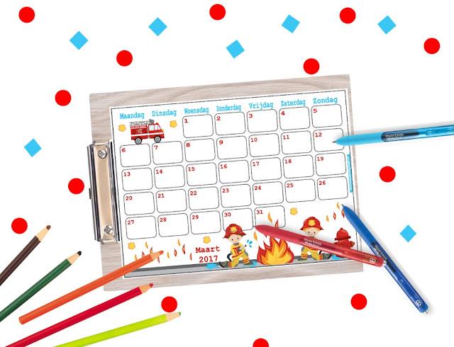 kalender maart 2017, maart 2017 kalender, brandweer kalender, kalender voor kinderen, kalender voor op school, schoolkalender, vakantie kalender, aftelkalender