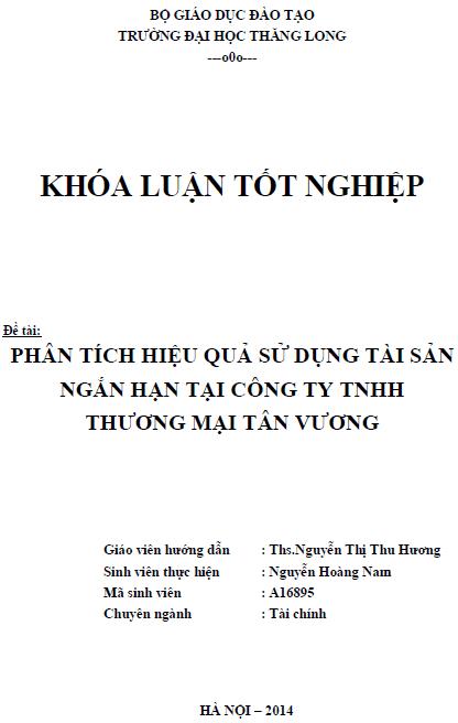 Phân tích tình sử dụng tài sản ngắn hạn tại Công ty TNHH Thương mại Tân Vương