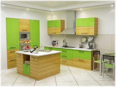 desain dapur dan ruang makan warna hijau