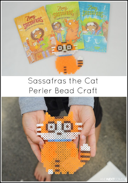 Sassafras the cat perler bead craft for kids + book review of Zoey and Sassafras from And Next Comes L