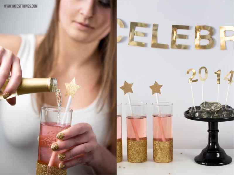 Silvester DIY Deko Ideen Golg Haarreif Sterne Popcorn Box Gold Glitter Gläser